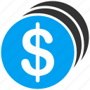 cash, currency, dollar coins, finance, financial, money, payment icon