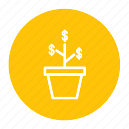 business, fin, growth, investment, money, plant icon