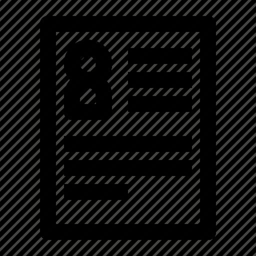 communication, curriculum, data, document, letter icon