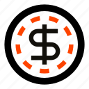 cash, casino, coin, dollar, money, token, usd icon