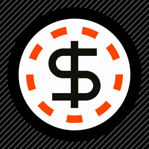 cash, casino, coin, dollar, money, token, usd icon