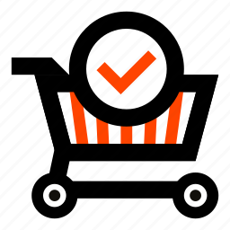 cart, checked, correct, goods, purchased, shopping, success icon