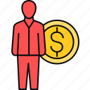 earn, earning, earnings, employee, money, salary icon