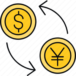 convert, currency, dollar, finance, money, transfer, yen icon