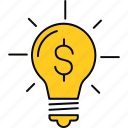 creative, idea, innovation, making, money, sign icon
