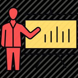 analysis, analytics, board, diagram, employee, presentation, report icon