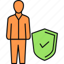 accepted, employee, protect, protection, secure, security, shield icon