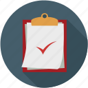 clipboard, clipboard checklist, documents, pages, pages on clipboard icon