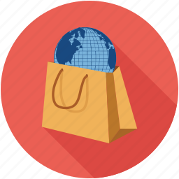 global, online shopping, shopping bag, shopping online icon
