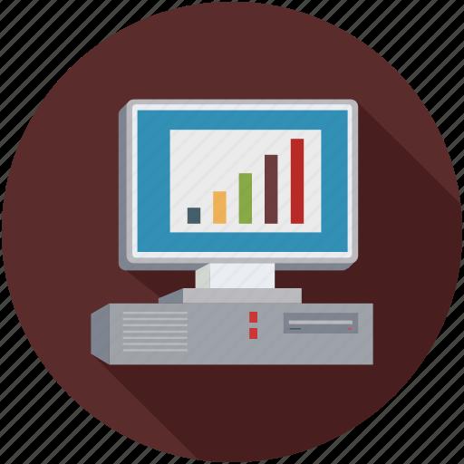 desktop computer, graph, old desktop computers, sales icon