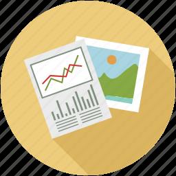 graphs, media, photos, sheets icon