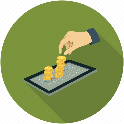coins, hand, tablet icon
