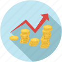 business growth, coins graph, growth, making money, up arrow icon
