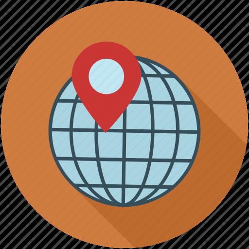 location, marked location, marker, pin, world icon