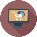 online shopping, shop online, shopping cart, shopping on laptop icon