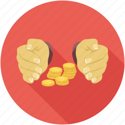 coins, hands, money icon