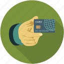 card in hand, credit card in hand, pay, payment card, prepaid card in hand, show your card icon