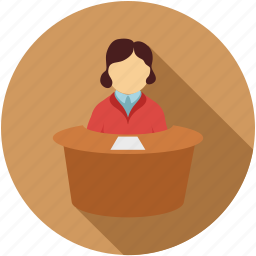 candidate, girl on the desk, interview, reception, receptionist icon