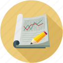 graph, line graph, notebook, pencil icon