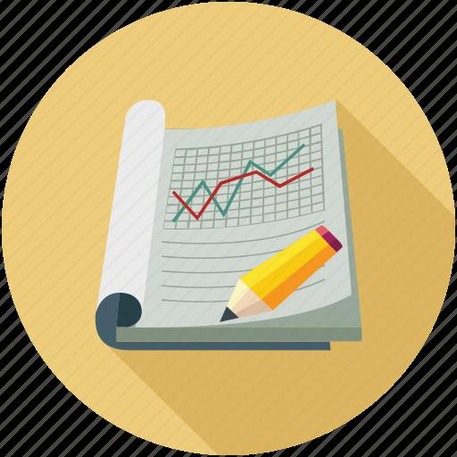graph, line graph, notebook, pencil icon
