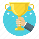 achievement, business, concept, goblet, hand, victory, winner icon