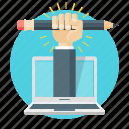 creative, design, draw, hand, laptop, pencil, web icon