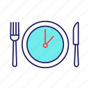 break, business lunch, clock, fork, knife, plate, time icon
