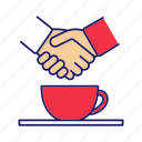 business, coffee break, cup, deal, handshake, meeting, partnership icon