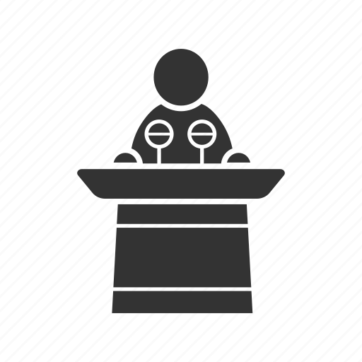 conference, lecture, politician, public speaking, speaker, speech icon