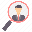 employee, find, magnifier, man, profile, recruitment, search icon