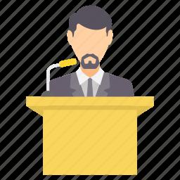 communication, conversation, interaction, lecture, media, speech, talk icon