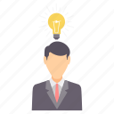 bulb, employee, finance, idea, innovation, light, money icon