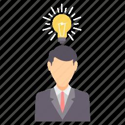 bulb, employee, finance, idea, innovation, light, money icon