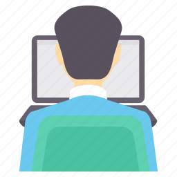 business, busy, chat, male, man, user, working icon