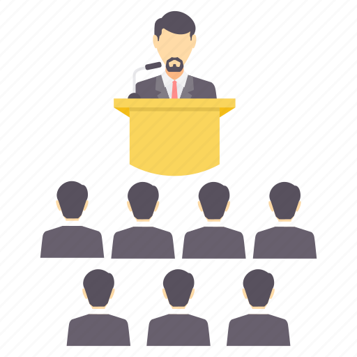 classroom, conference, meeting, presentation, report, speak icon