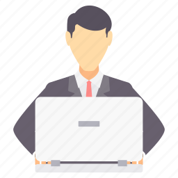 business, busy, computer, laptop, male, man, working icon
