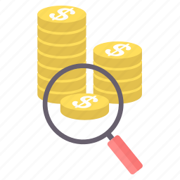 cash, coin, currency, dollar, finance, money, search icon