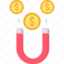 attract, attraction, finance, generate, magnet, money, revenue icon