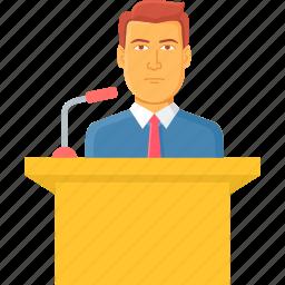 announcement, conversation, lecture, message, news, speech, talk icon