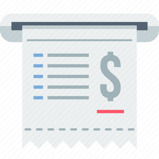 bill, business, finance, invoice, office, receipt, withdrawal icon
