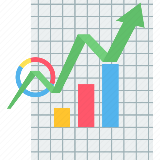 analytics, chart, data, graph, growth, paper, presentation icon