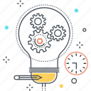brainstorm, business, businessman, gear, idea, lamp, project icon