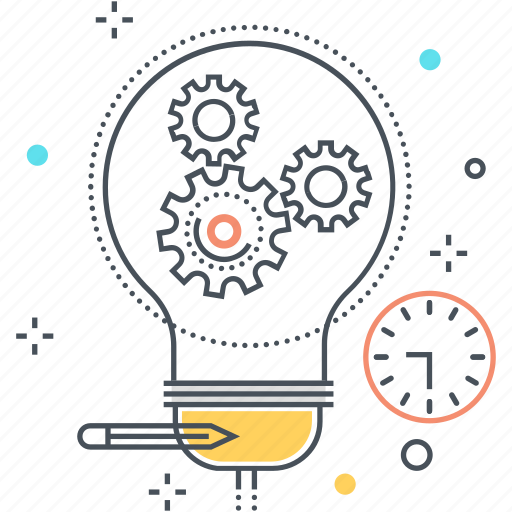 brainstorm, business, businessman, gear, idea, lamp, project icon
