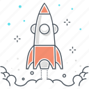 achievement, adventure, beginnings, business, commerce, exploration, rocket icon