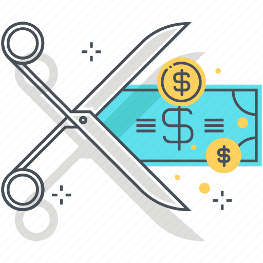 budget, cost, cut, money, public, scissors, spending icon
