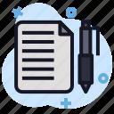 business, economics, file, note, pen icon
