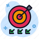 arrow, business, economics, list, target icon