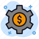 business, dollar, economics, gear, repair, setting icon