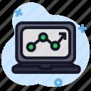 business, digital, economics, laptop, stats icon