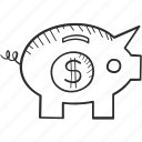 business, dollar, drawing, finance, money, piggy bank, vision icon